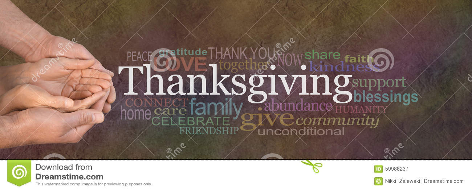 Bannière de site Web de nuage de Word de thanksgiving
