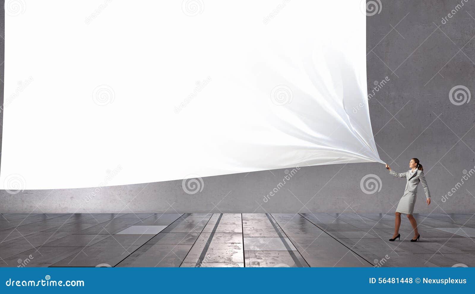 Bannière de tissu de traction de femme d affaires
