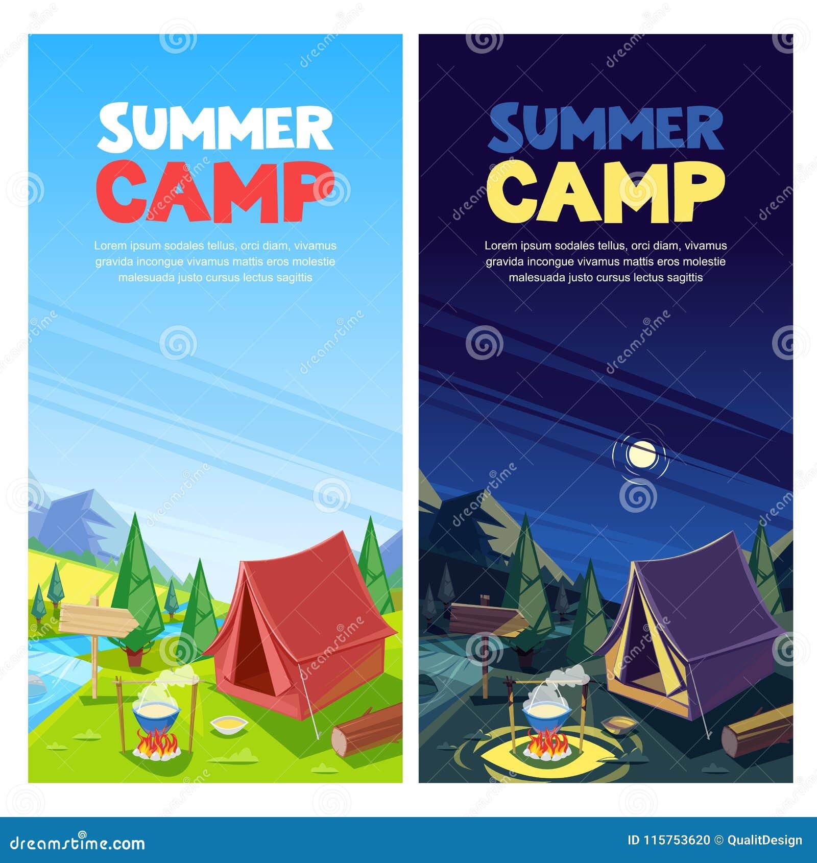 Bannière de vecteur de colonie de vacances, calibre de conception d affiche Concept de tourisme d aventures, de voyage et d eco T