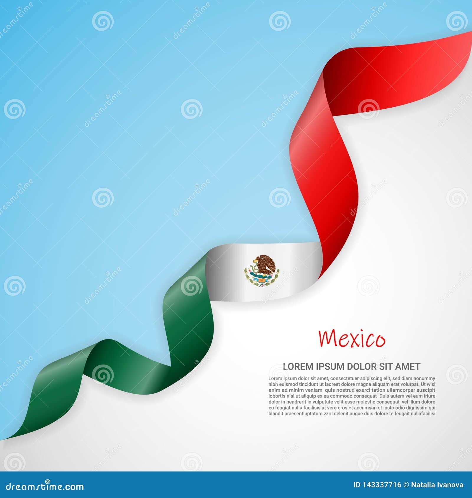 Bannière de vecteur dans les couleurs blanches et bleues et ruban de ondulation avec le drapeau du Mexique Calibre pour la concep