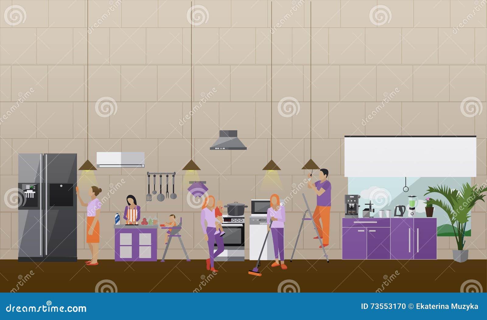 Bannière de vecteur de concept de service de nettoyage les gens nettoient la maison intérieur de cuisine d appartement équipe de