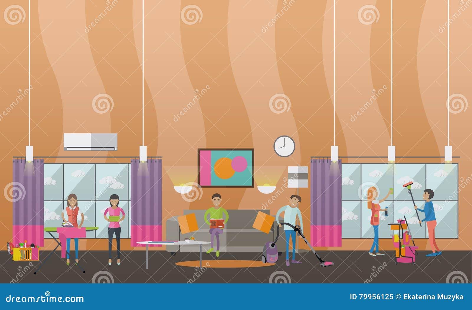 Bannière de vecteur de concept de service de nettoyage les gens nettoient la maison intérieur de salon d appartement