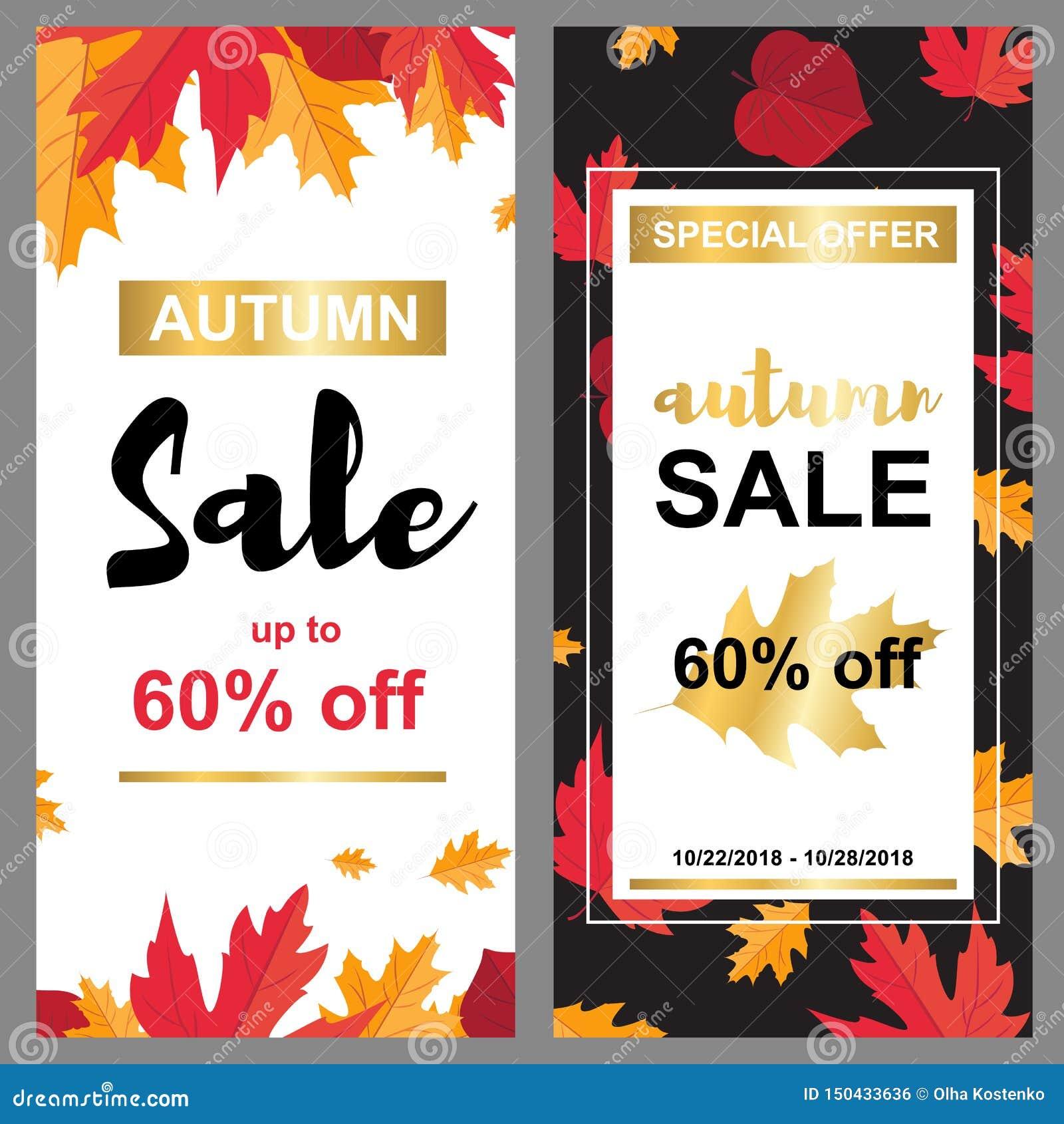 Bannière de vente avec des feuilles d automne