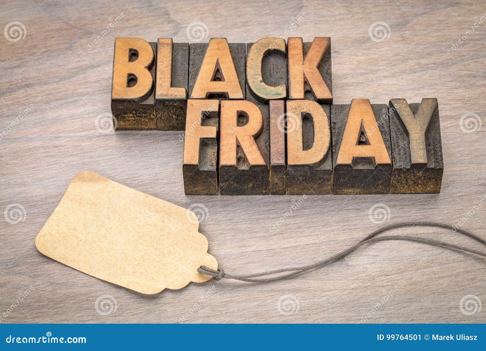 Bannière de vente de Black Friday dans le type en bois