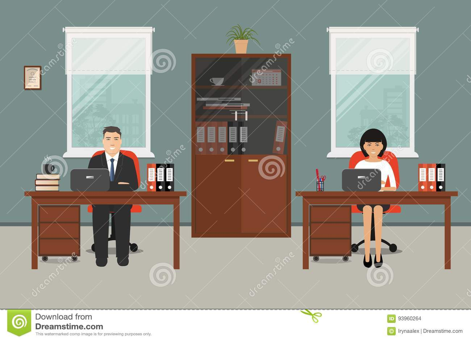 Bannière de web de deux employés de bureau illustration de vecteur