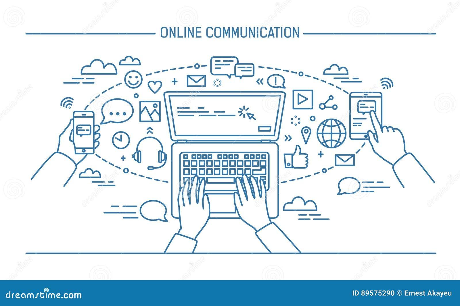 Bannière en ligne de lineart de communication instruments, technologie de l information, communications, transmission de messages