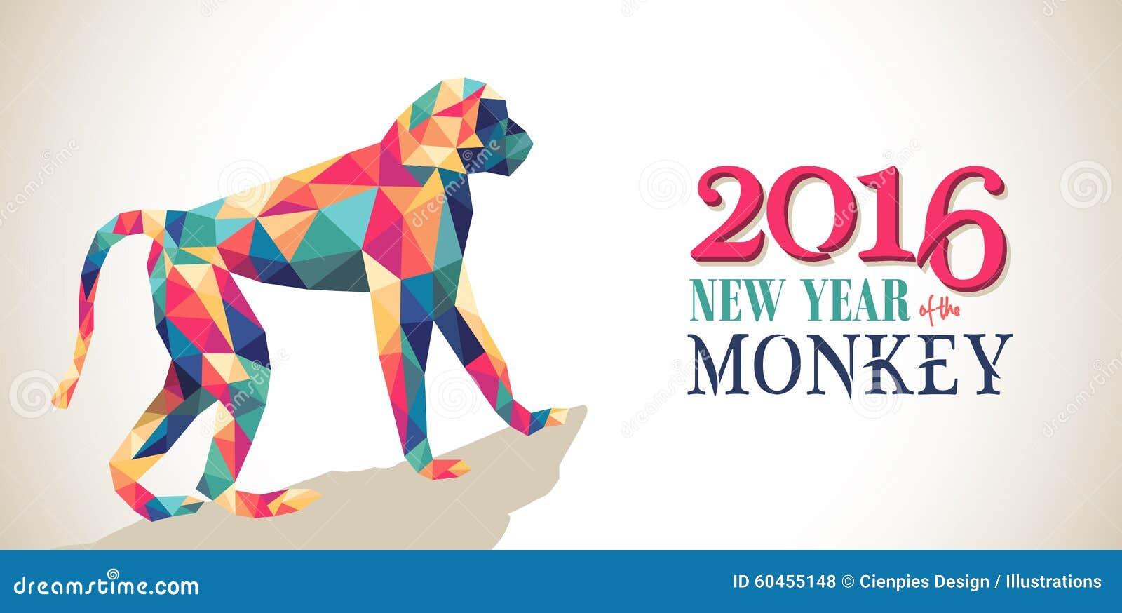 Bannière 2016 heureuse de triangle de singe de nouvelle année de porcelaine