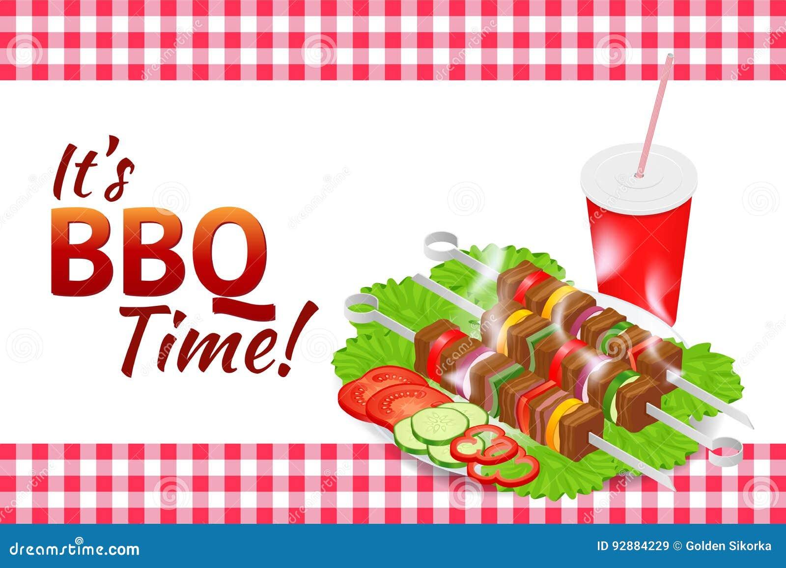 Bannière horizontale de partie de barbecue Nourriture d été de gril Pique-nique faisant cuire le dispositif Illustration isométri