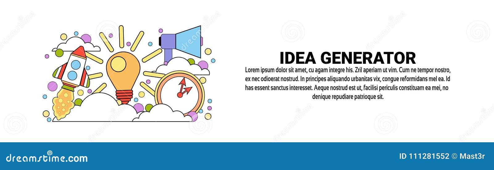 Bannière horizontale de Web de concept de créativité d affaires de générateur d idée avec l espace de copie