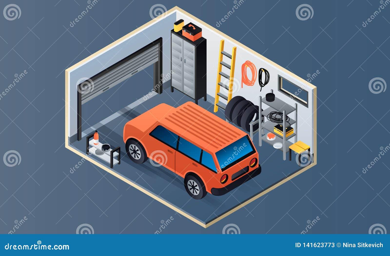 Bannière intérieure de garage, style isométrique