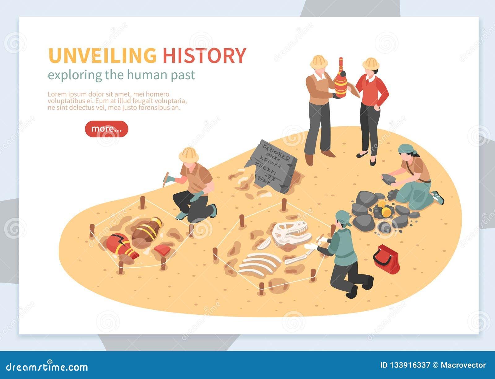 Bannière isométrique de concept d exploration archéologique