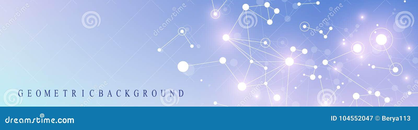 Bannière moderne de technologie Présentation abstraite géométrique Fond de transmission Lignes plexus et points cybernétique