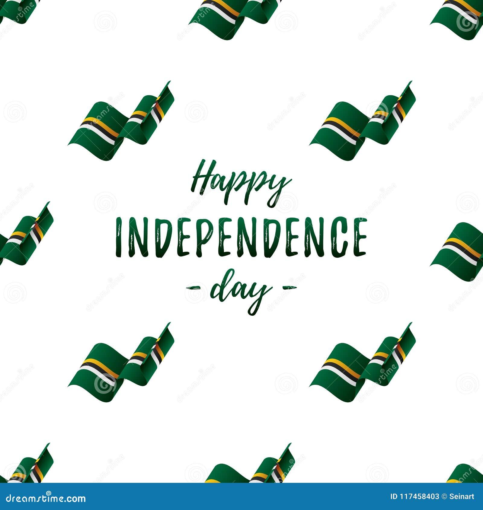 Bannière ou affiche de célébration de Jour de la Déclaration d Indépendance de la Dominique Modèle sans couture avec le drapeau d