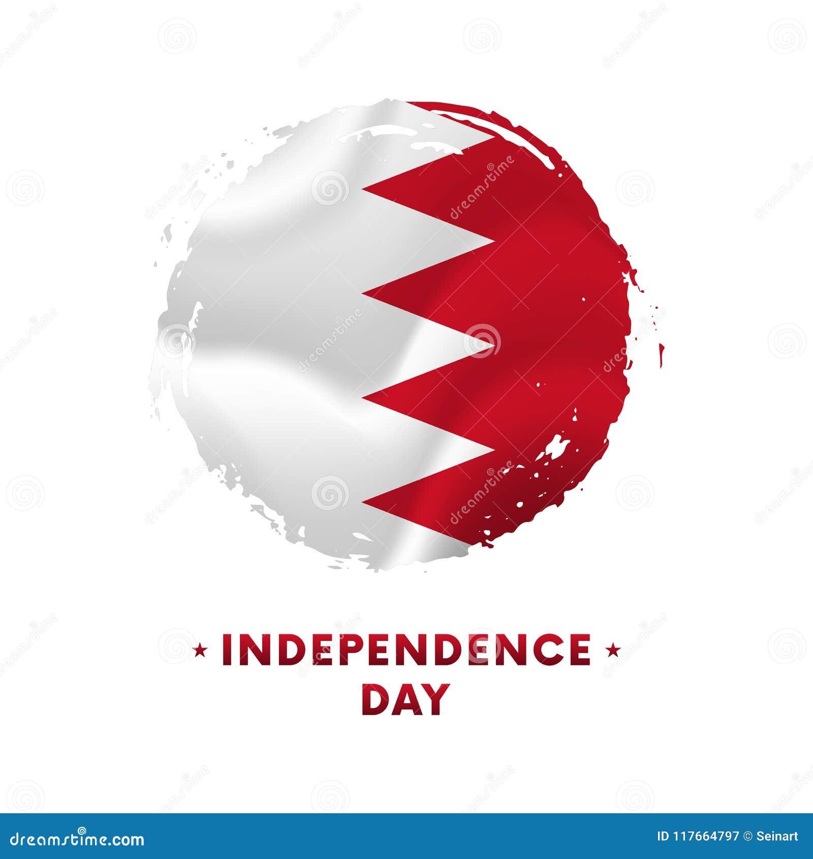 Bannière ou affiche de célébration de Jour de la Déclaration d Indépendance du Bahrain Drapeau de ondulation du Bahrain, fond de