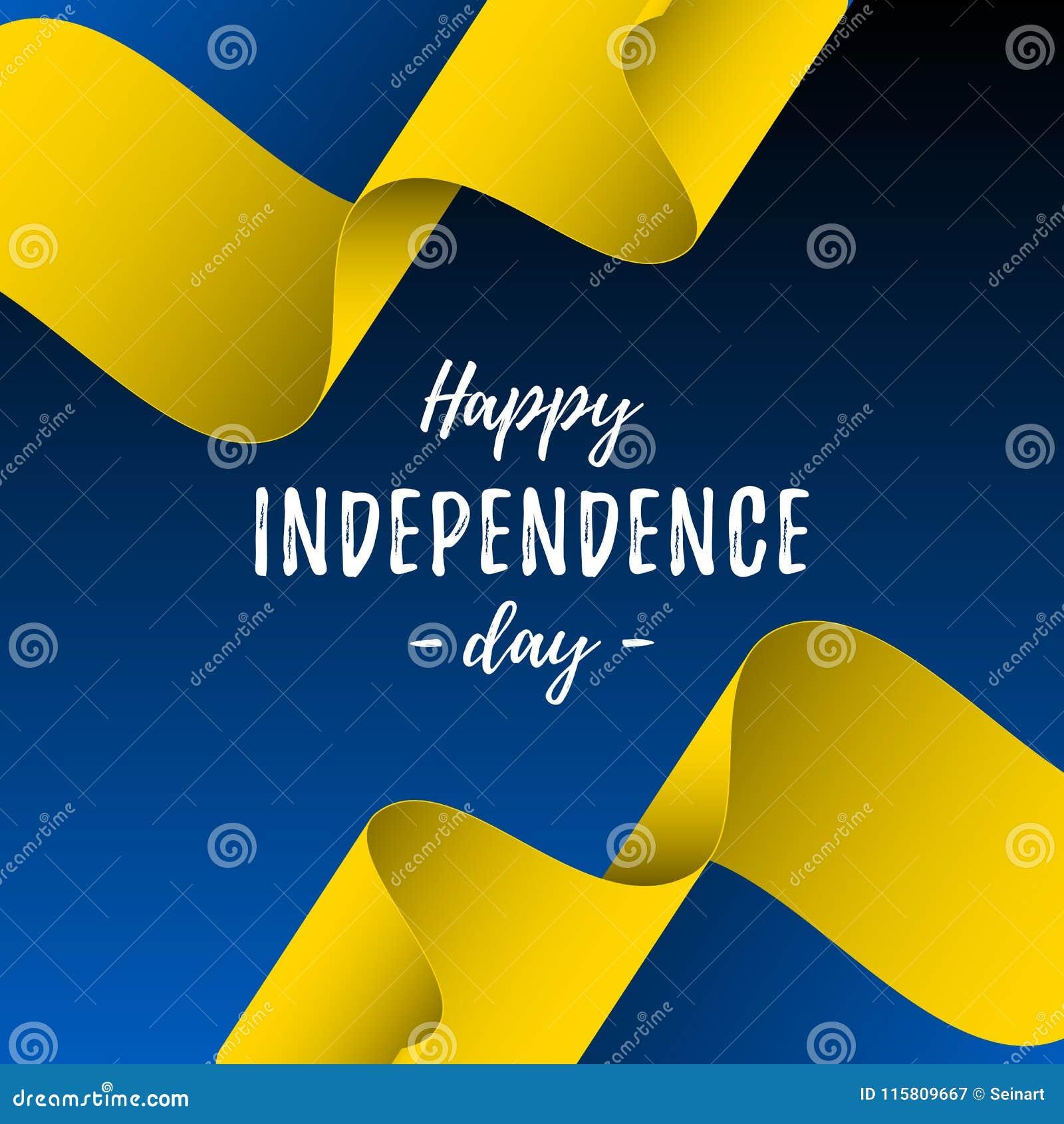 Bannière ou affiche de célébration de Jour de la Déclaration d Indépendance de l Ukraine Drapeau de l Ukraine Illustration de vec