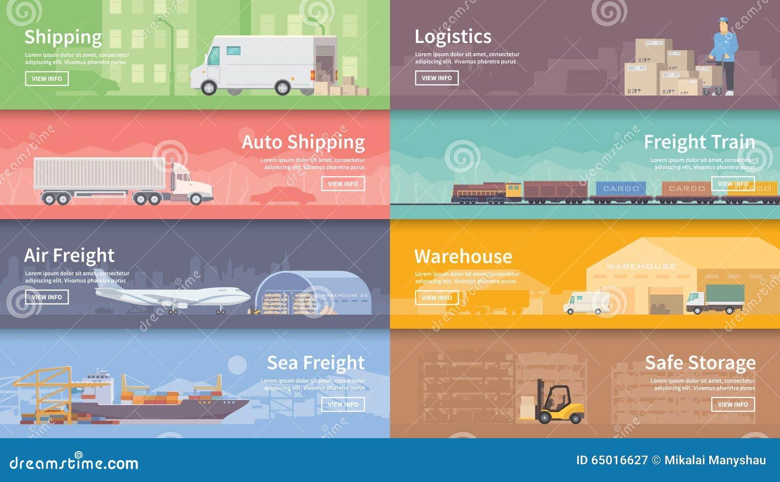 Bannière plate de Web de vecteur logistique