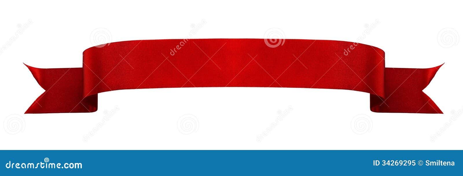Bannière rouge de ruban de satin