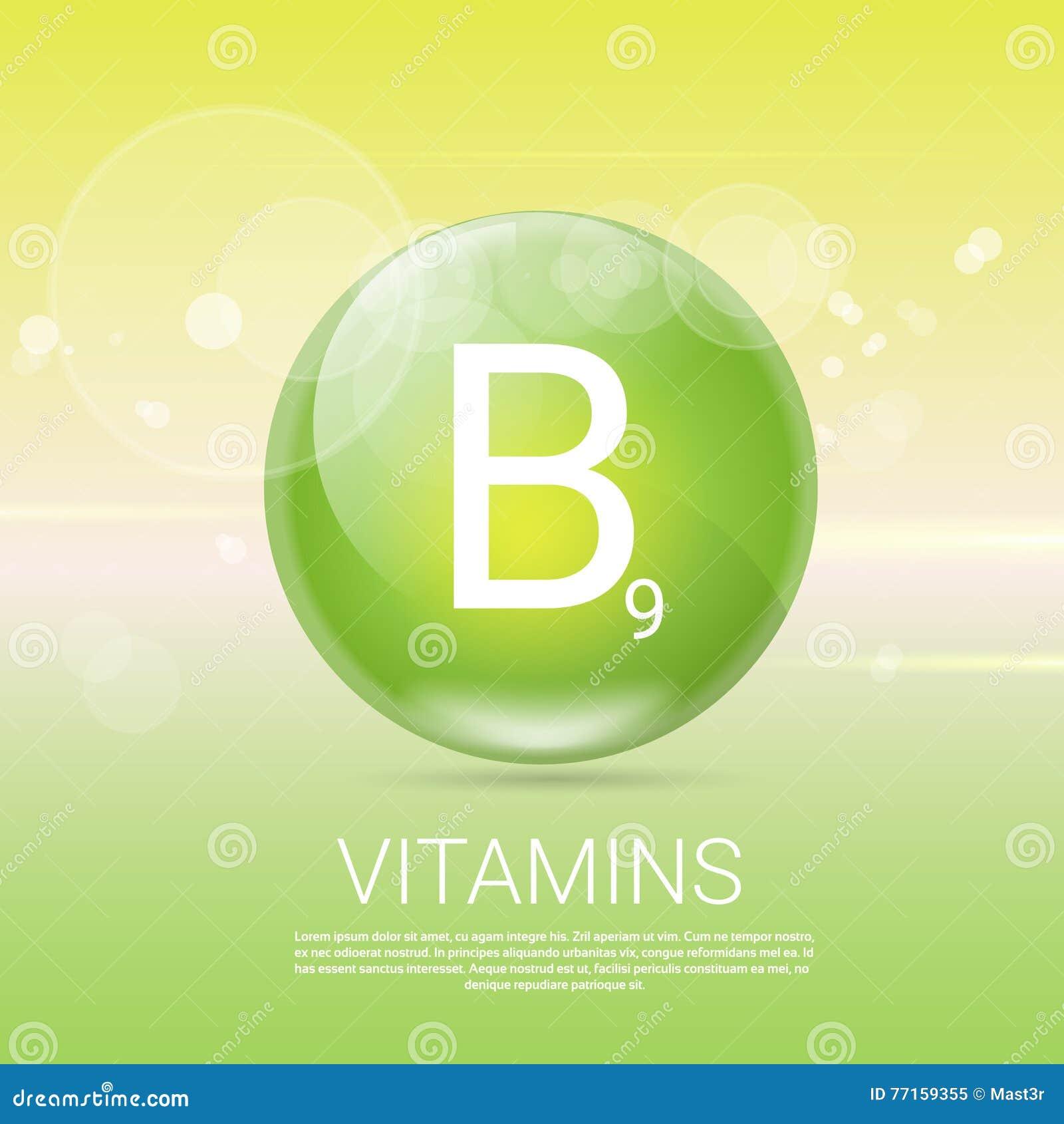 Bannière saine de concept de la vie des vitamines B9 avec l espace de copie