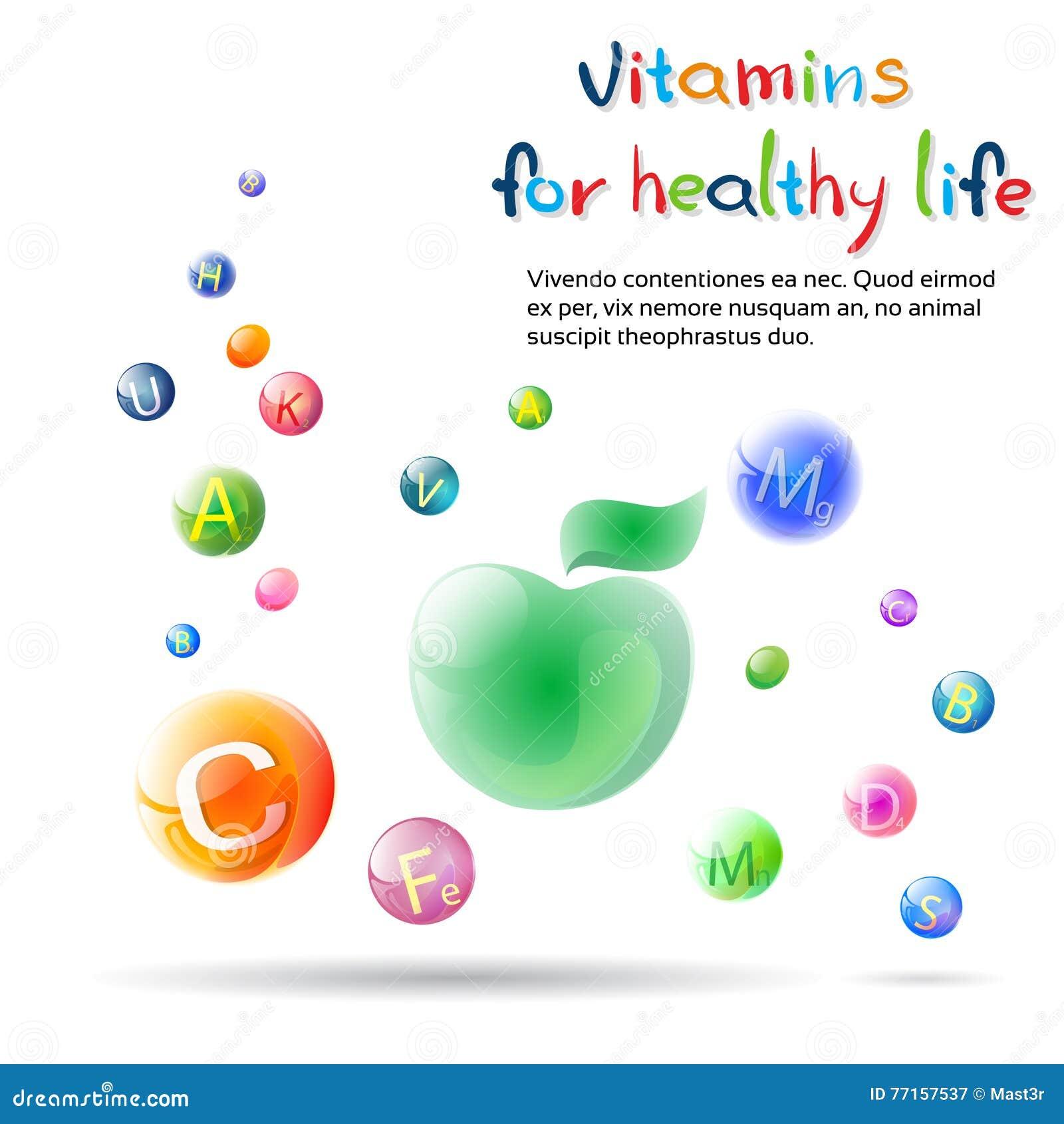 Bannière saine de la vie de vitamines avec l espace de copie