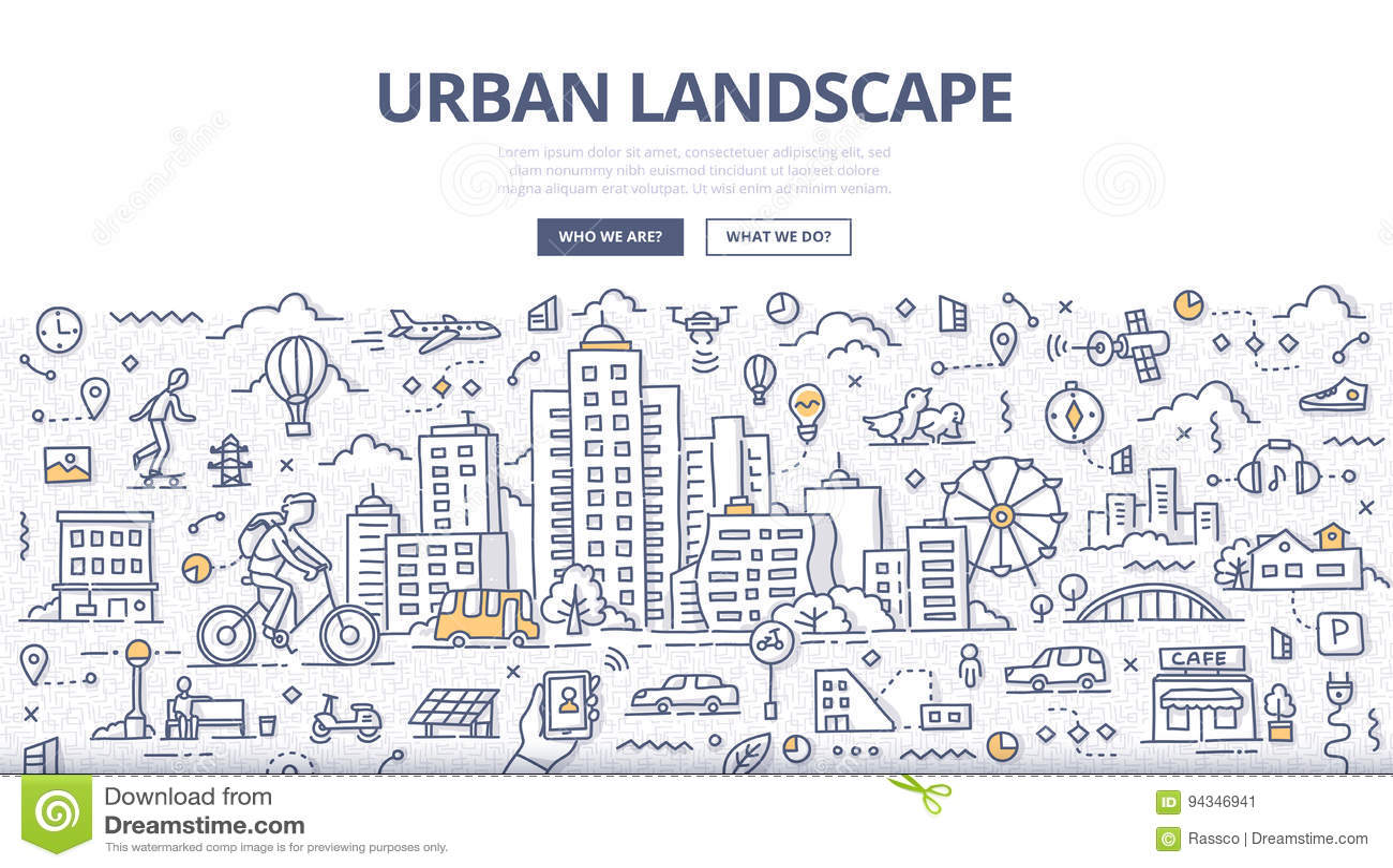 Bannière urbaine de griffonnage de paysage