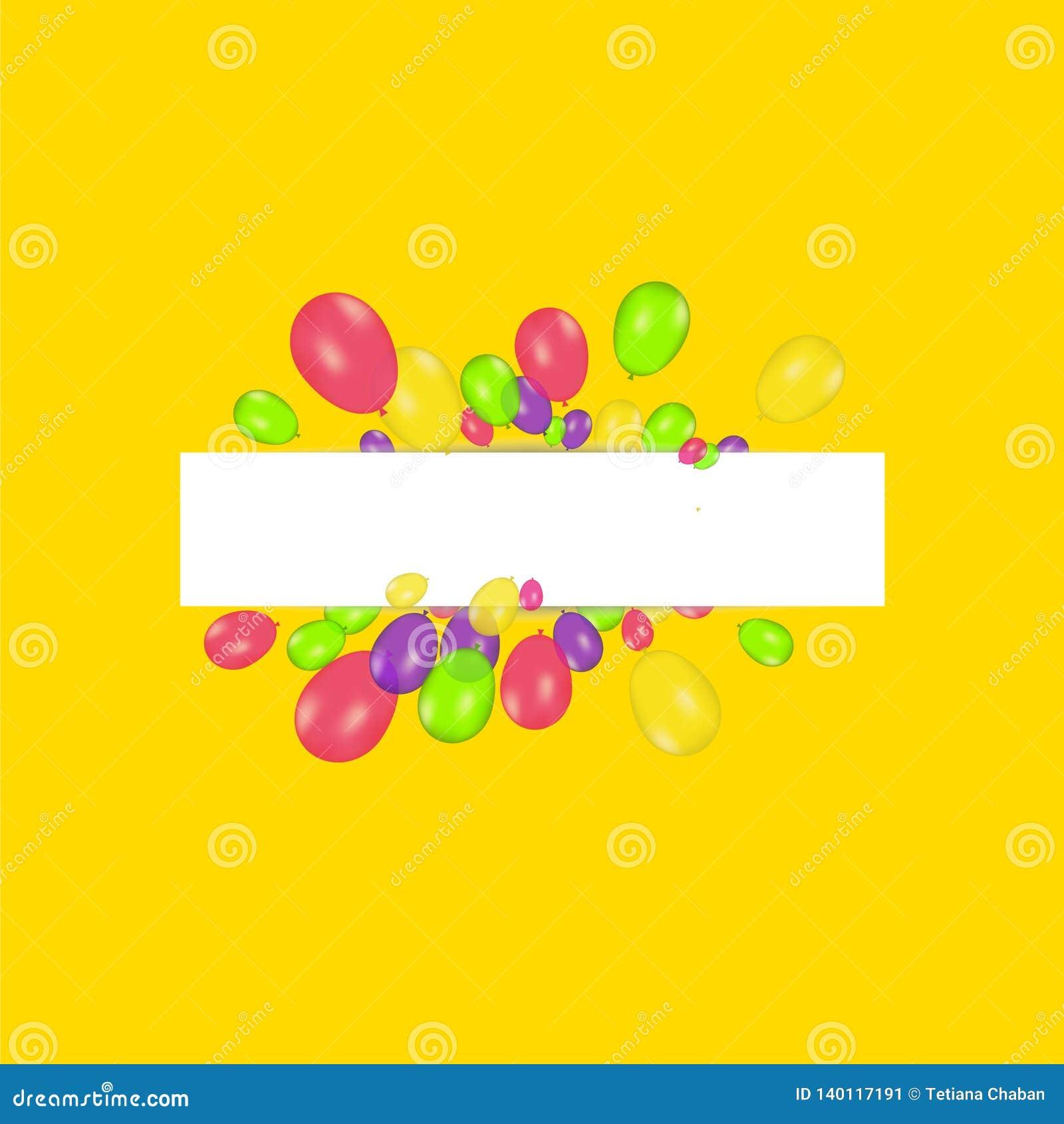 Bannière vide avec des ballons et des confettis de couleur Fond de fête de vecteur Concept de joyeux anniversaire