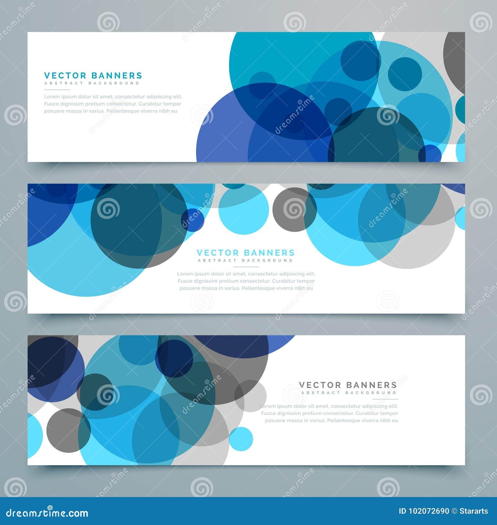 Bannières bleues et en-têtes de vecteur de cercles réglés