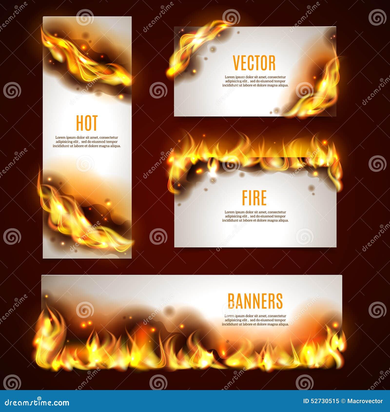 Bannières chaudes du feu réglées