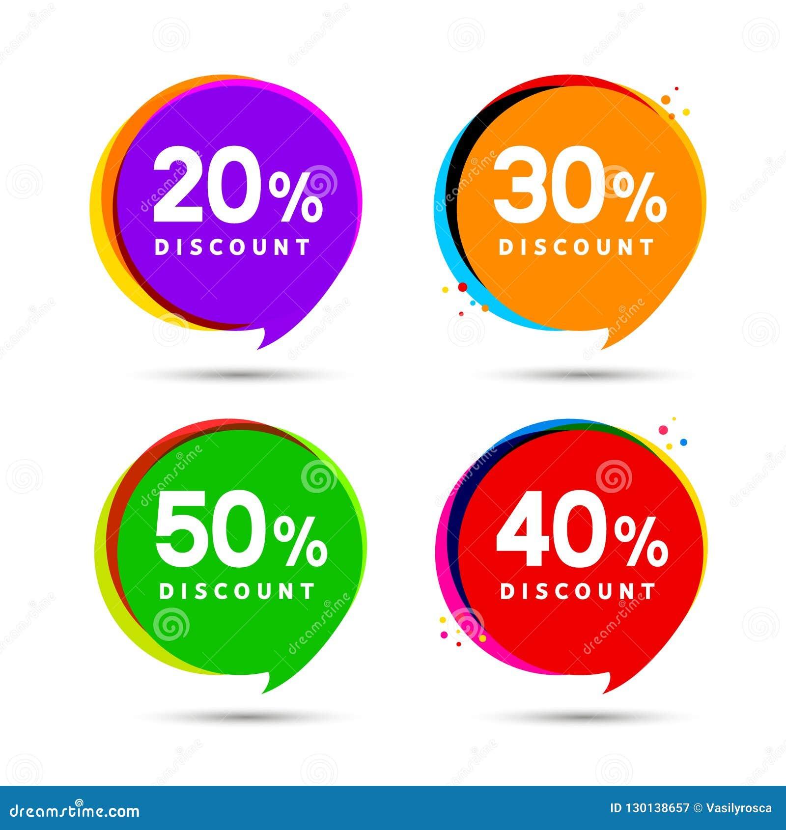 Bannières de bulle de vente de prix discount Label de prix à payer Conception plate de signe de promotion d offre spéciale