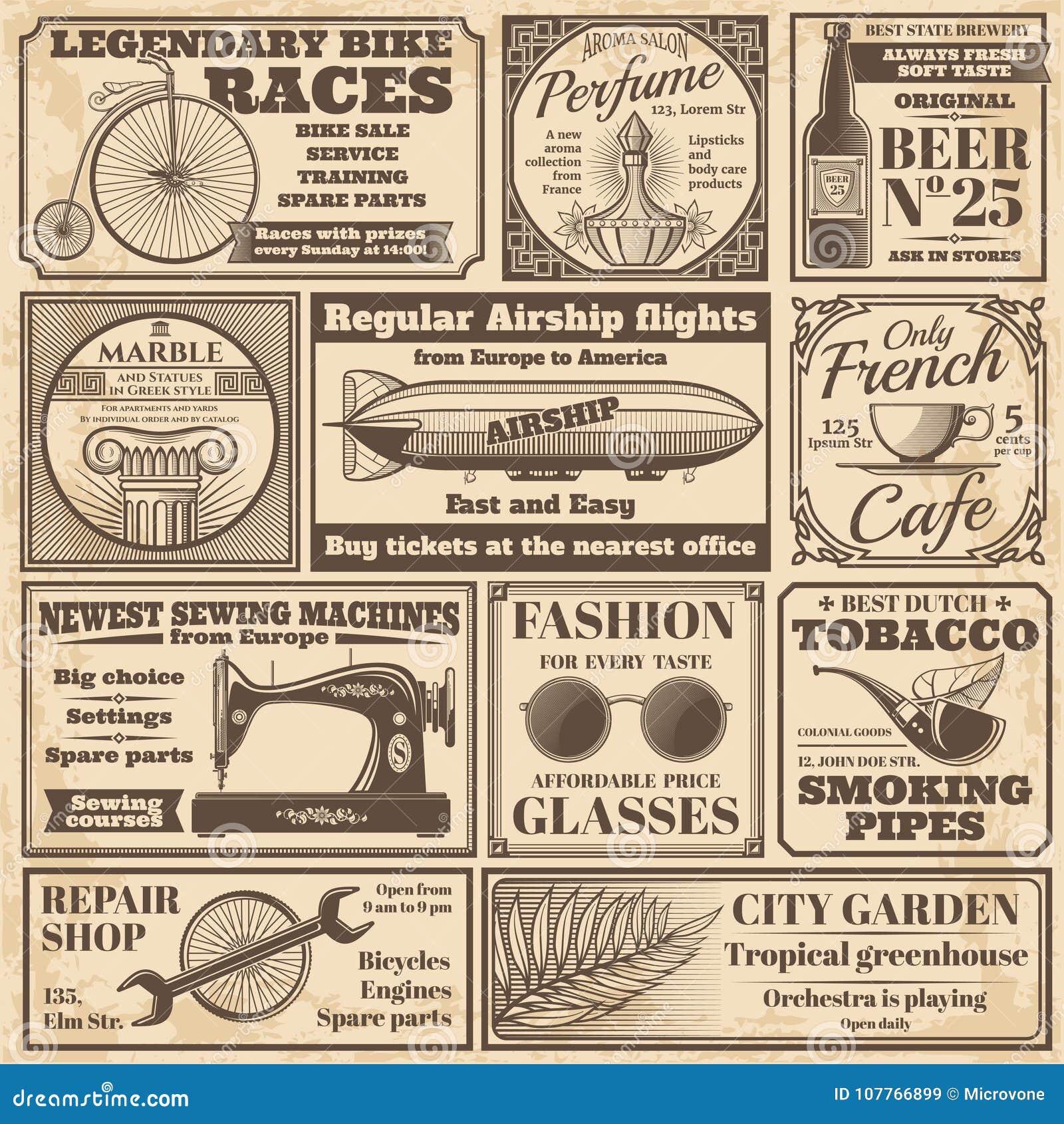 Bannières de journal de vintage et ensemble de vecteur de labels de la publicité