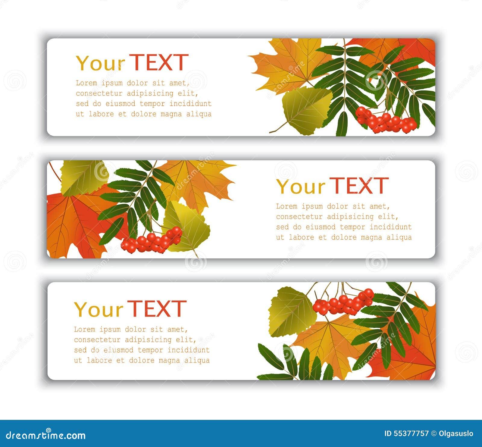 Bannières de la publicité avec des feuilles d automne
