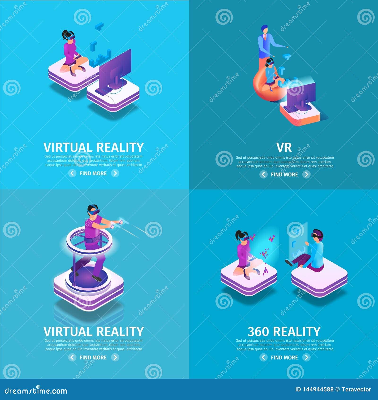 Banni?res de place de VR r?gl?es avec le jeu de personnes de jeu