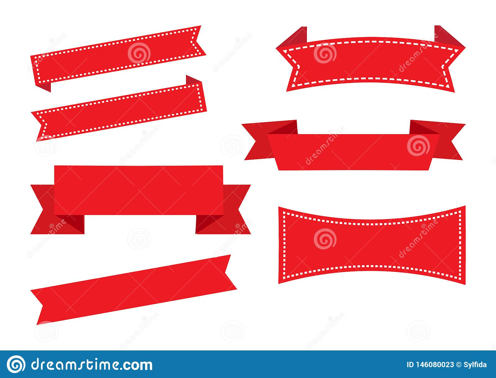 Bannières de ruban, ensemble rouge D?corations de No?l Vecteur