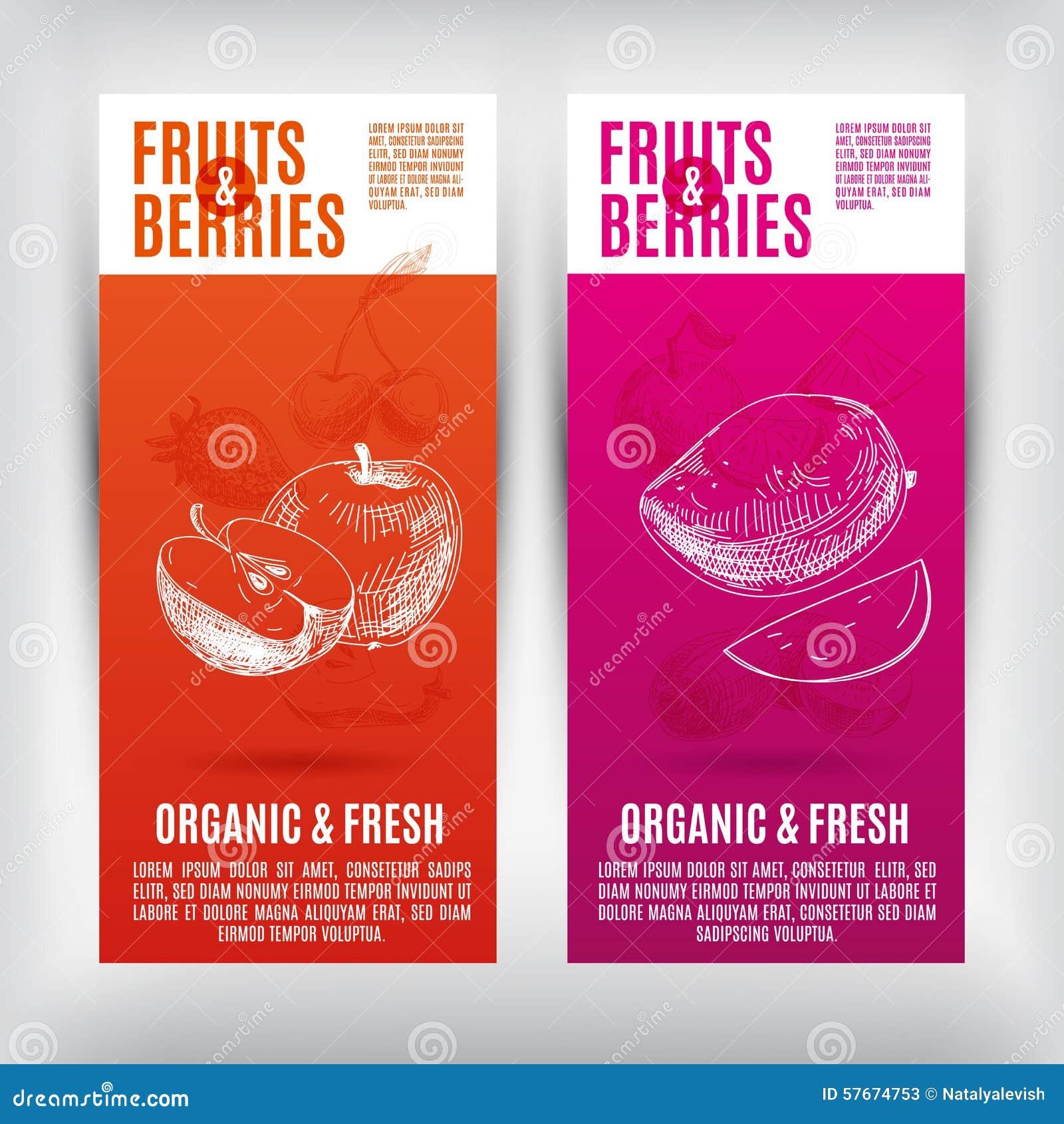 Bannières de vecteur réglées avec les fruits tirés par la main Fruits