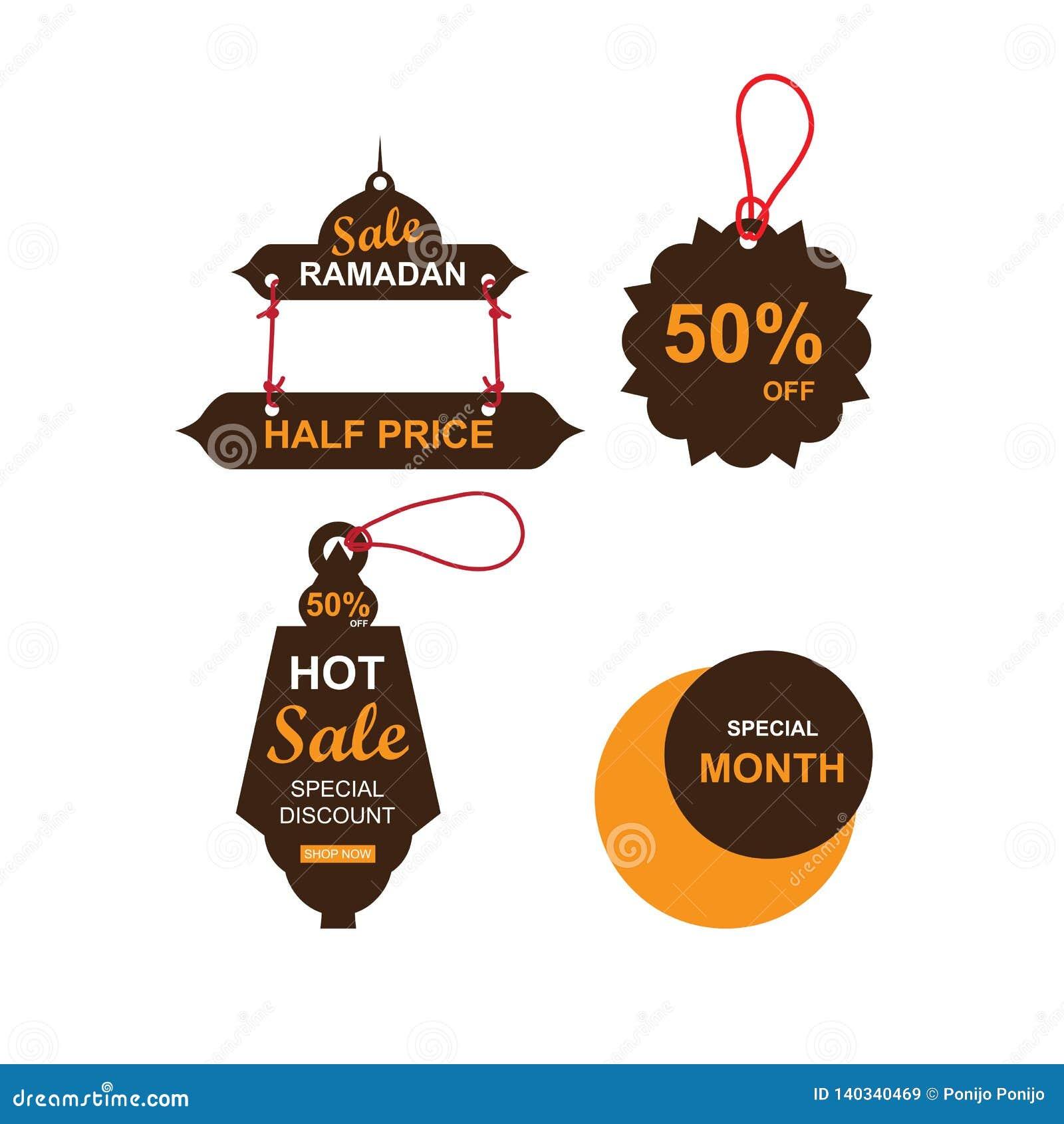 Bannières de vente de Ramadan ensemble, remise et meilleur étiquette d offre, label ou autocollant réglés occasionnellement de Ra