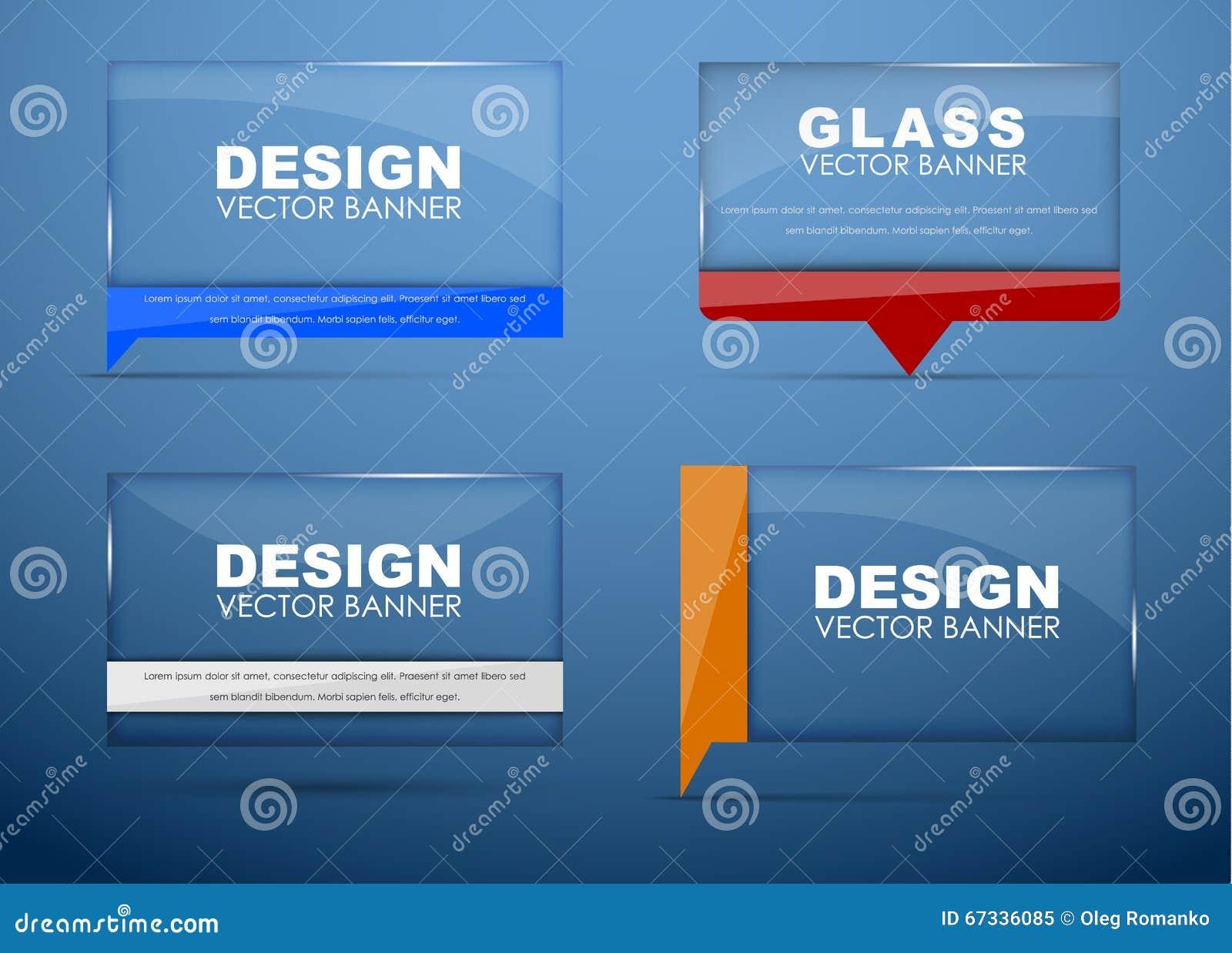 Bannières en verre avec la bulle de citation