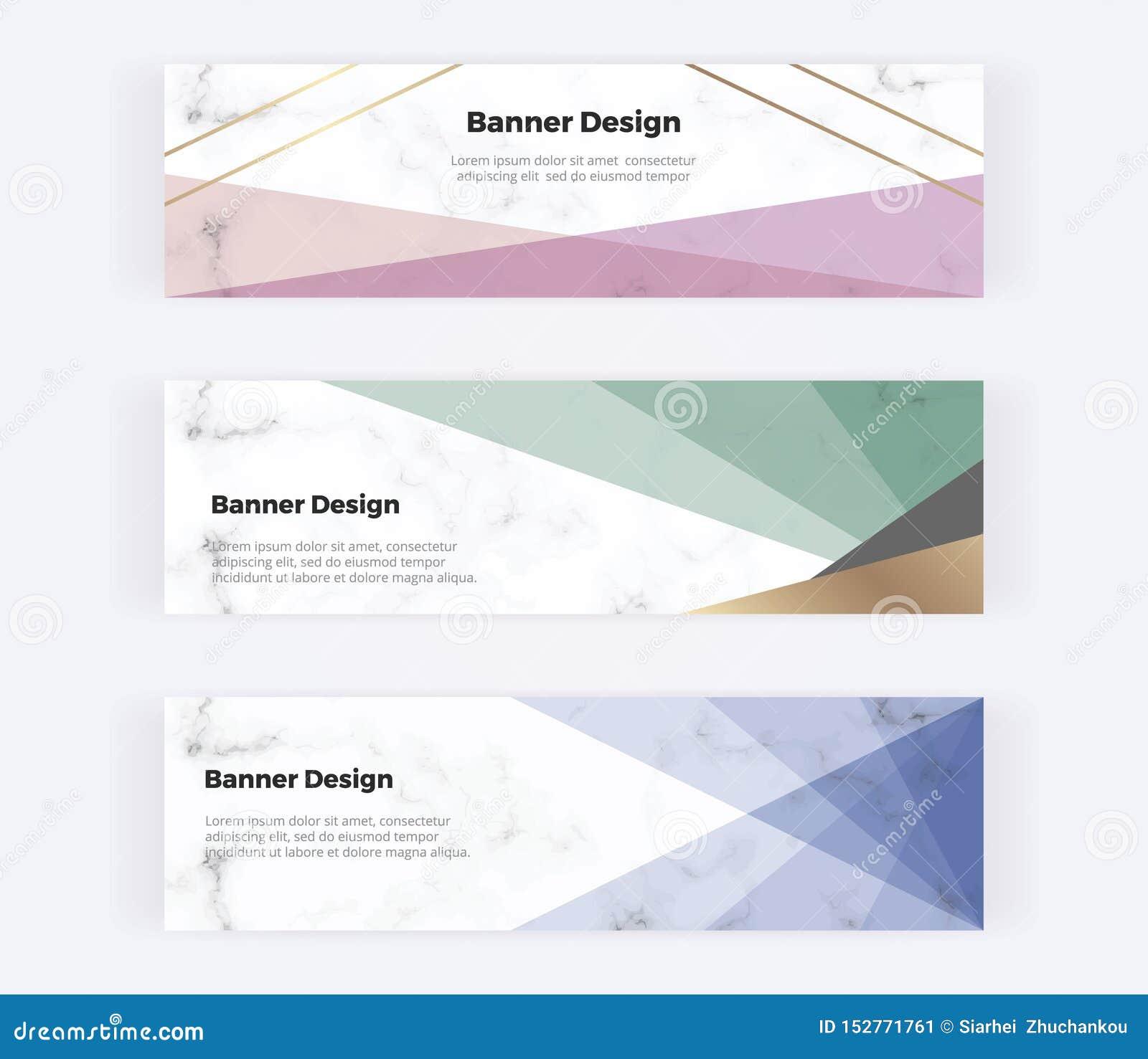 Bannières géométriques de Web avec le rose, le bleu et les triangles et les lignes d or sur la texture de marbre Calibres moderne