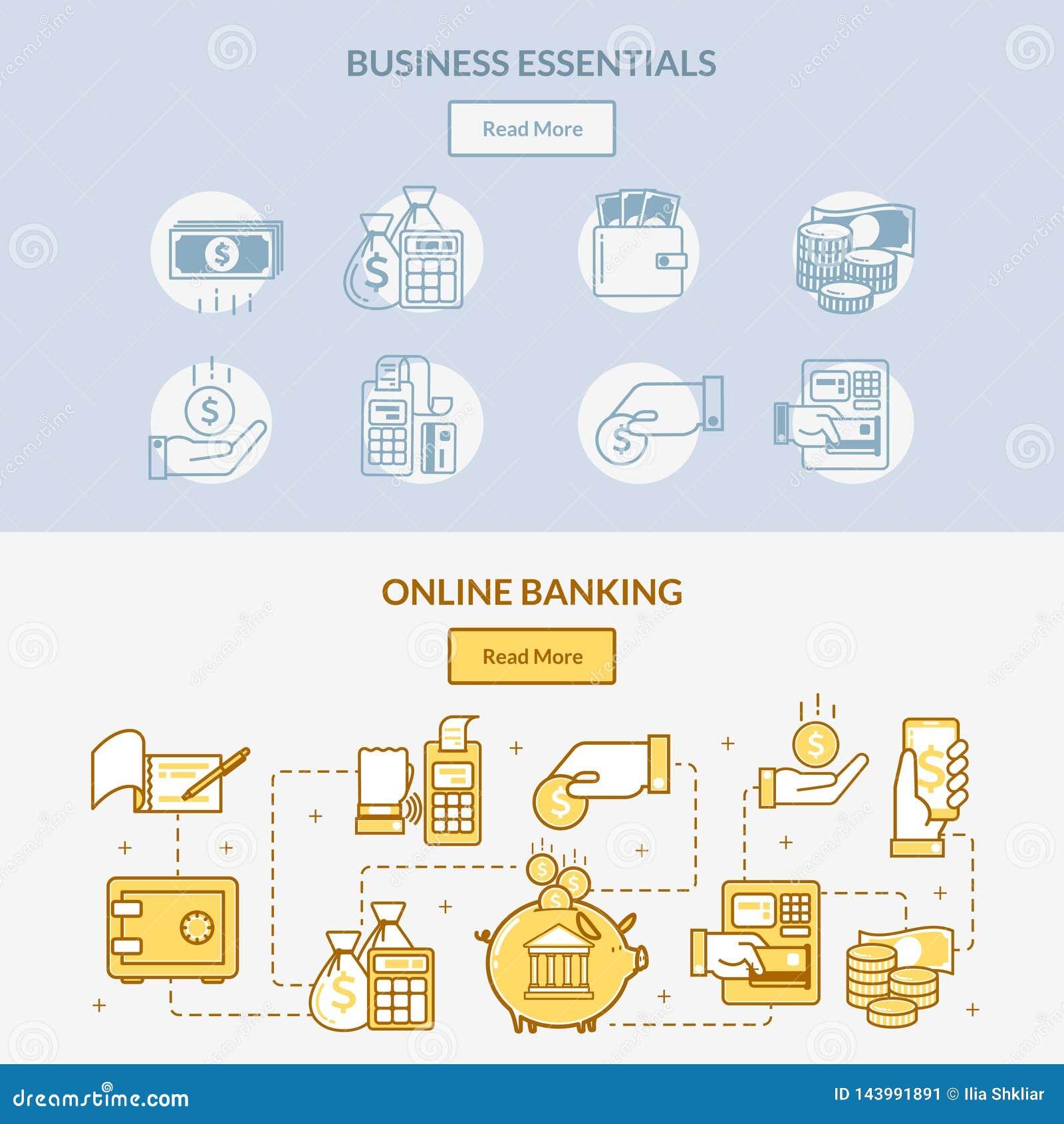 Bannières horizontales d icônes d opérations bancaires de finances le réseau de la manipulation, des connexions et des actions d