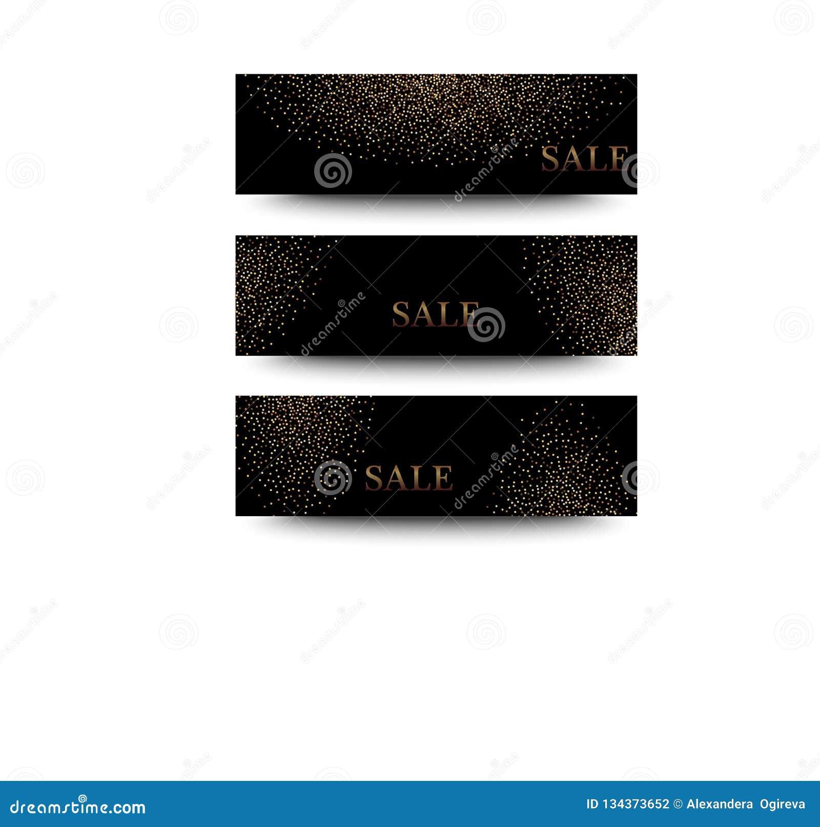 Bannières horizontales de noir et d or réglées, saluant le design de carte La poussière d or
