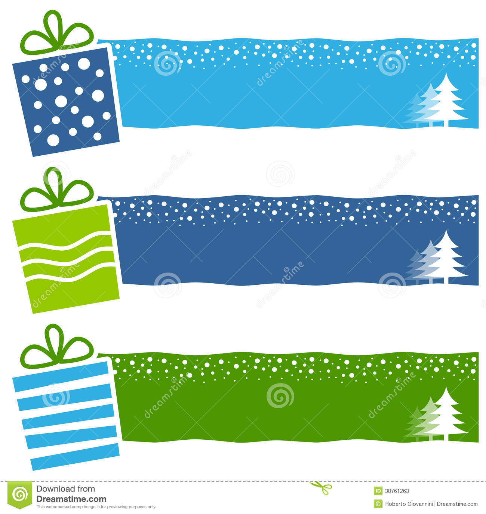 Bannières horizontales de rétros cadeaux de Noël