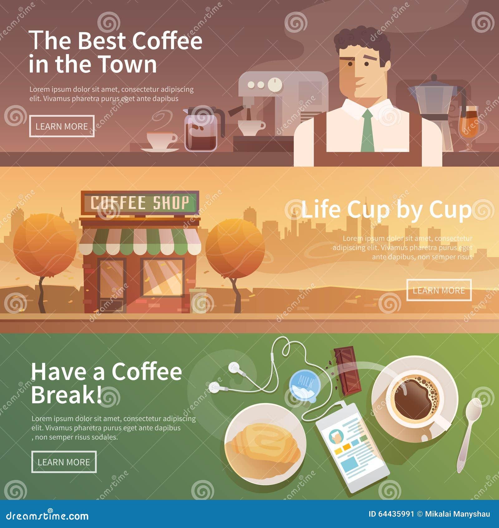 Bannières plates de vecteur boissons Café