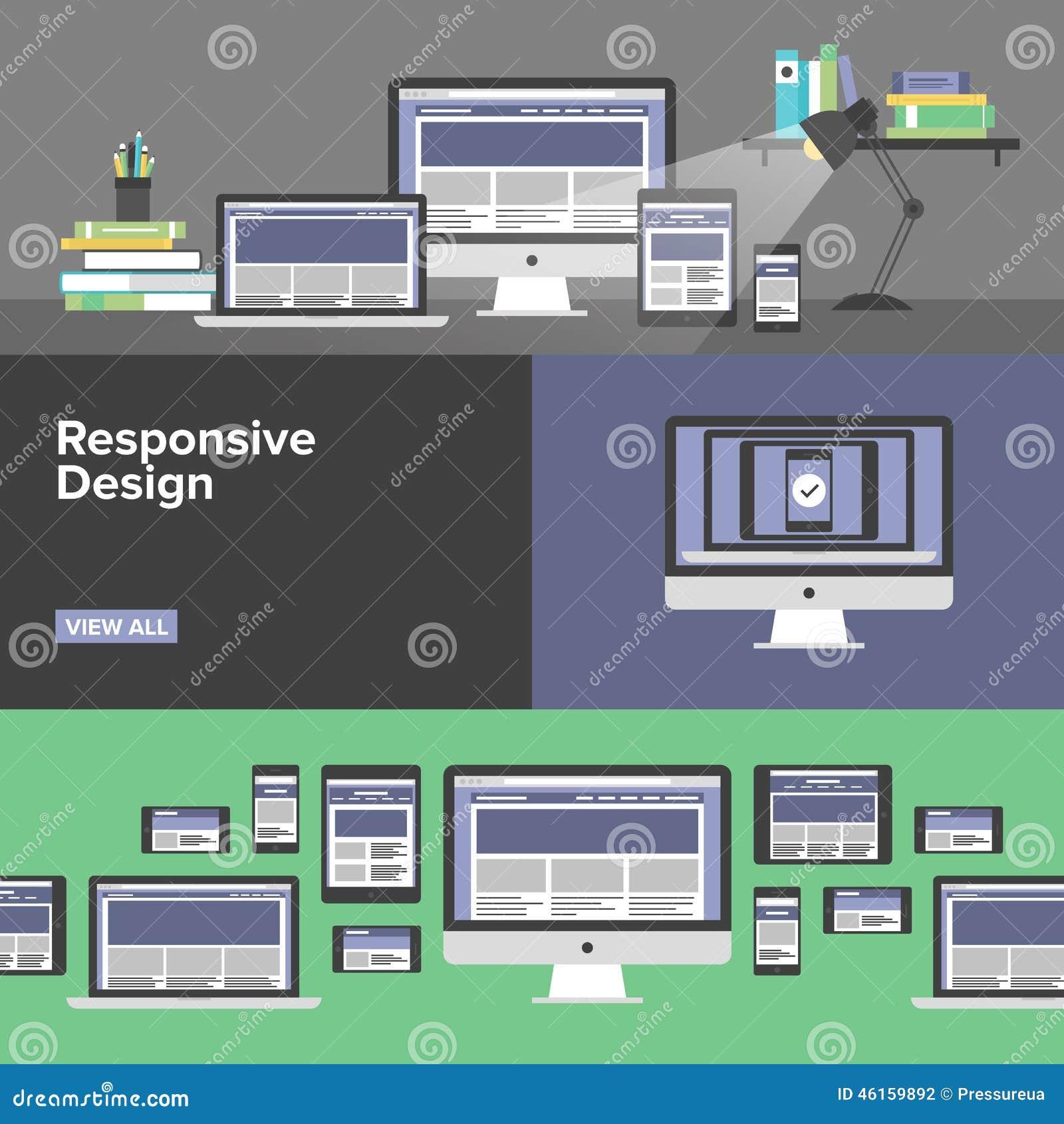 Bannières plates de web design sensible