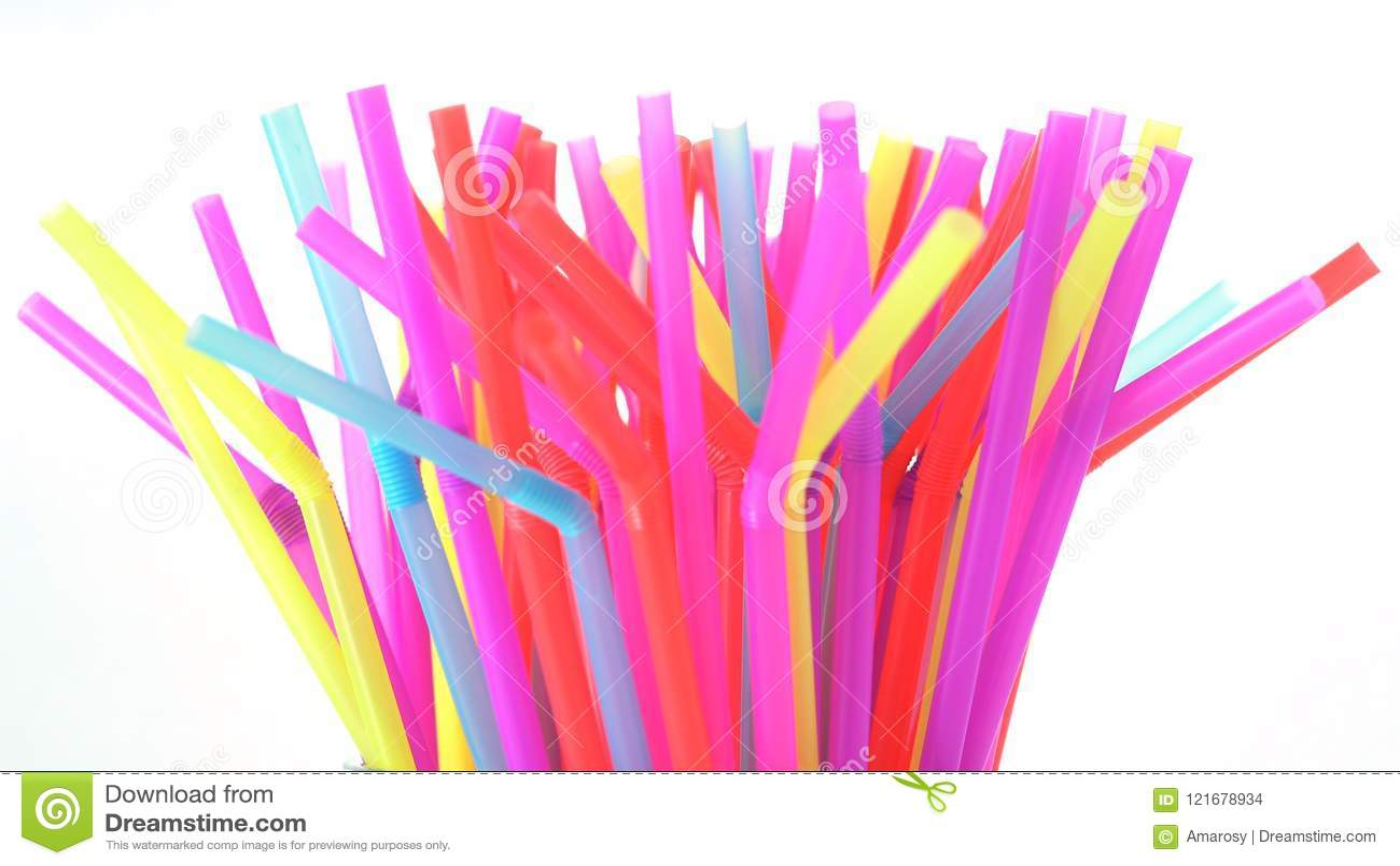 Banning plastic straws enviromental concerns concept.