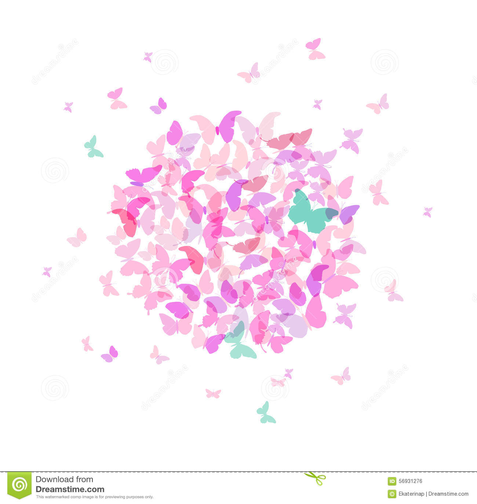 banni re ronde d 39 t design de carte papillon rose color sur le fond blanc vecteur. Black Bedroom Furniture Sets. Home Design Ideas