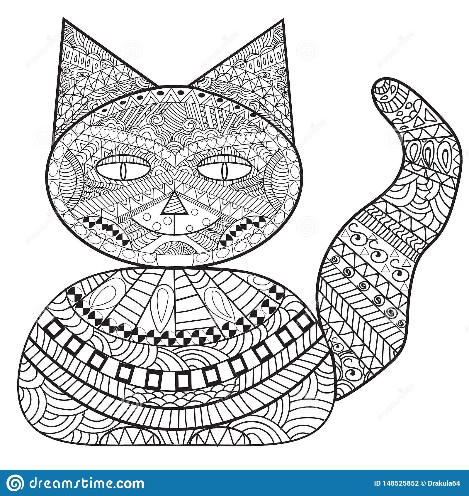 Banque de chat de Zentangle, chat de décoration, livre de coloriage adulte, colorant