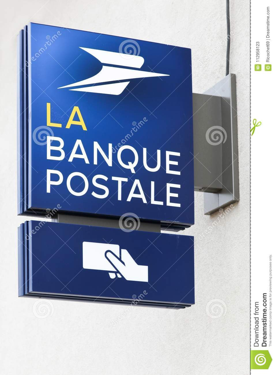 Banque Image Logo banque postale logo on a wall editorial stock photo - image of