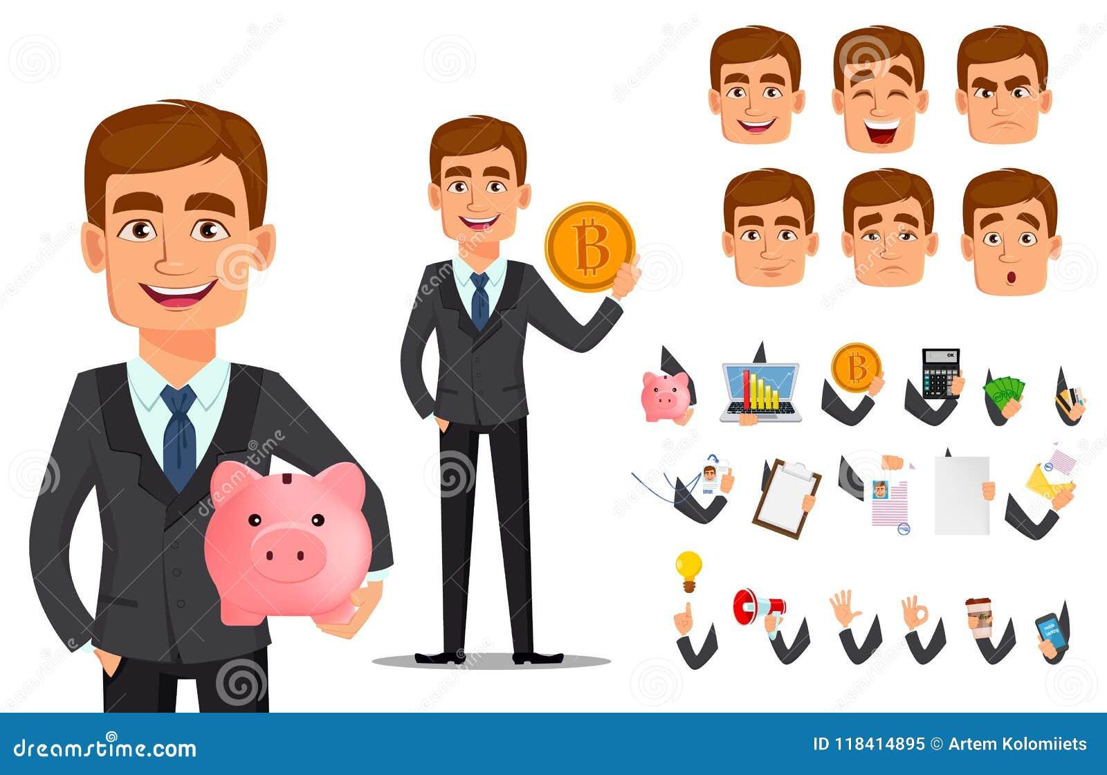 Banqueiro considerável no terno de negócio
