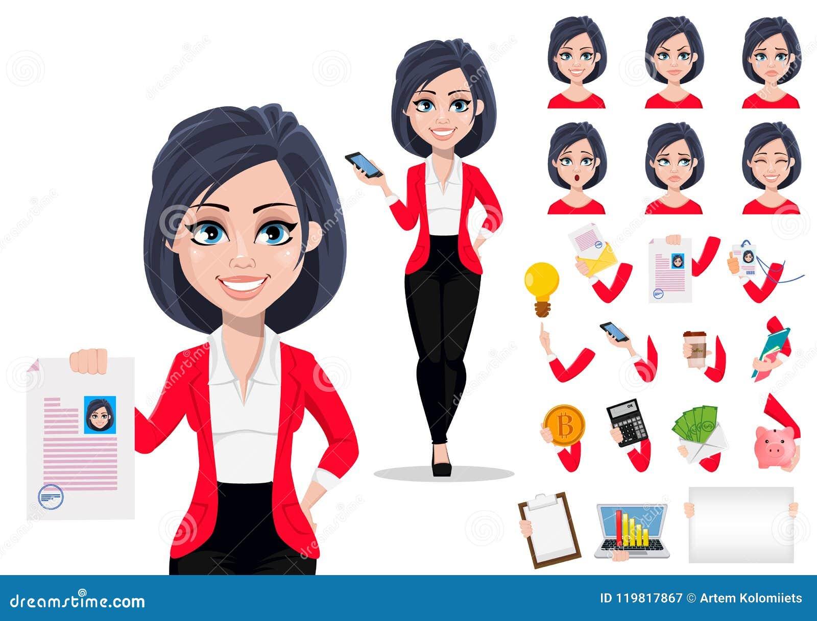 Banquero femenino hermoso en traje de negocios Paquete de partes del cuerpo, de emociones y de cosas