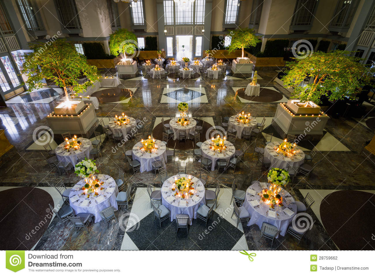 Banquet Set Up In Huge Hall Stock Photography Image