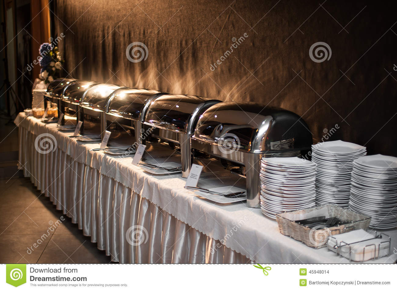 Banquet Table Chafing Dish Heater Stock Photo Image