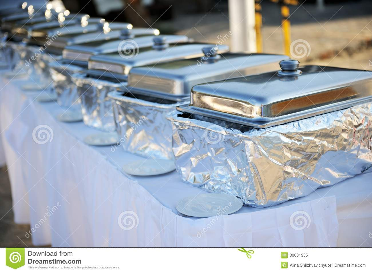 Banquet Table With Chafing Dishes Stock Image Image